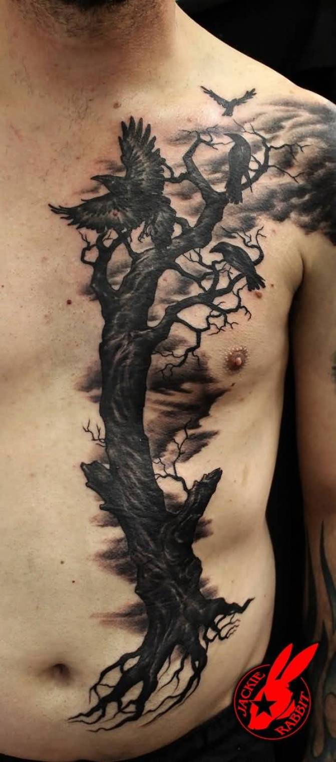 best Evil Ravens Tree Tattoo by Jackie Rabbit on chest with Black ink For Man And Woman