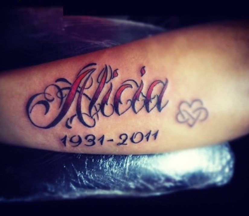 best ever red and black color ink alicia ambigram word tattoo for girls