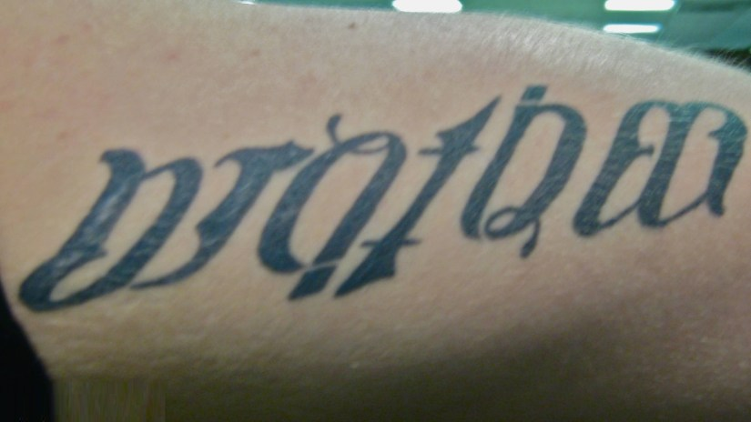 best gray color ink tattoo of ambigram word for boys