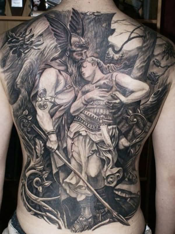 Best Warrior Tattoo On Chest With Black Ink For Women And Man