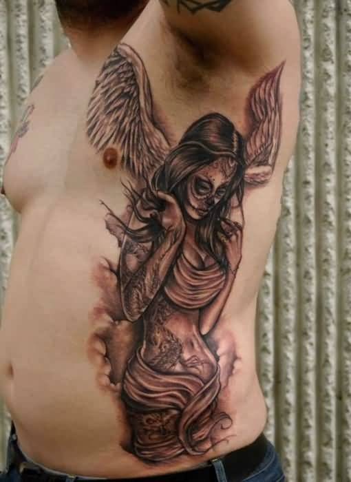 brilliant gray and red light color ink Angel Tattoos on boy ribs side made by expert artist for man