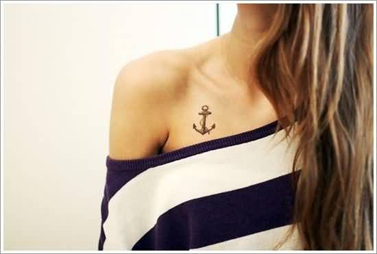 brilliant gray color ink anchor tattoo on girl's chest