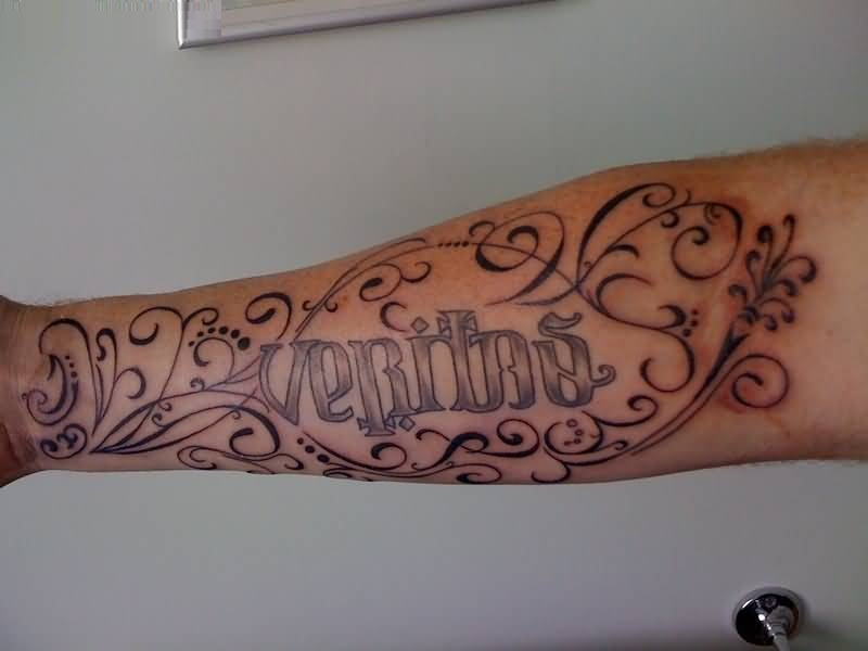 brilliant gray color ink sleeve cover up with ambigram tattoo for girls