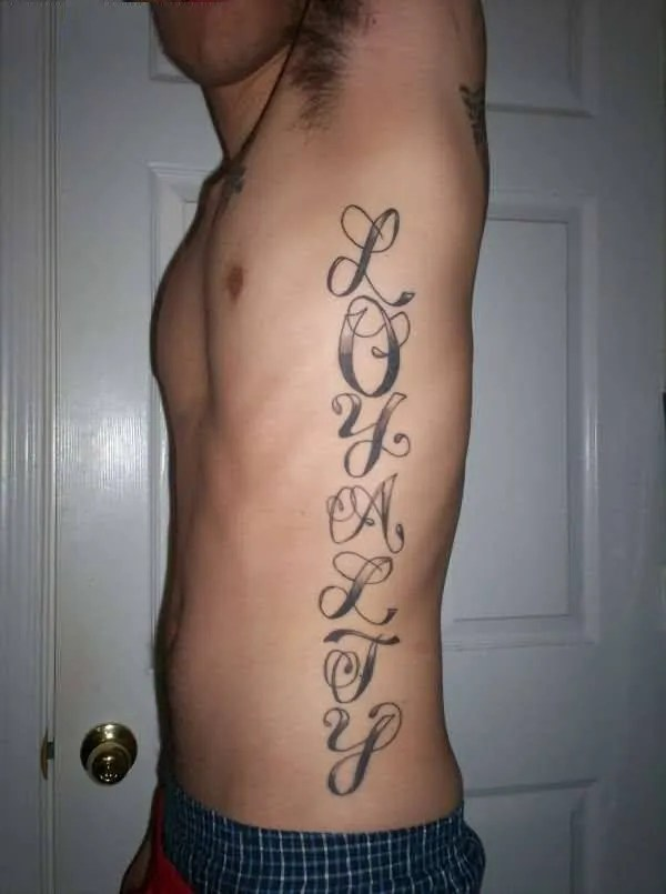 charming gray color ink ambigram tattoo for men's ribs made by expert