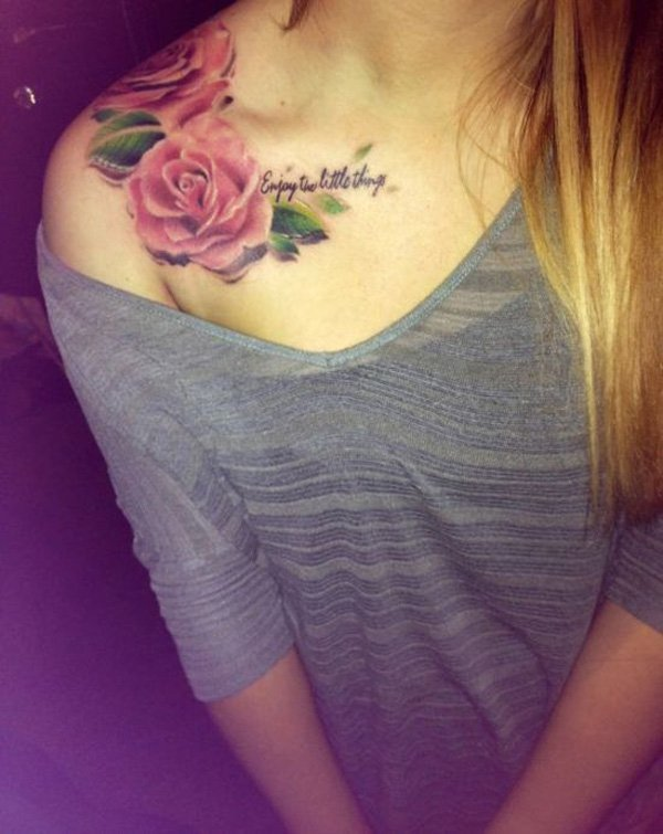 Clavicle Tattoos With Colourful Ink For Woman