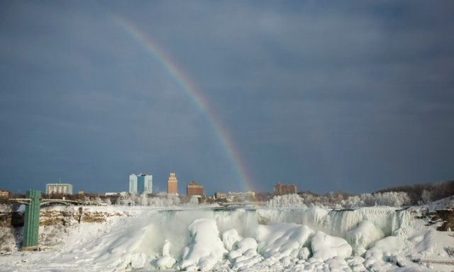 Colorful Rainbow Color Over The Frozen Niagara Falls With Beautiful Building