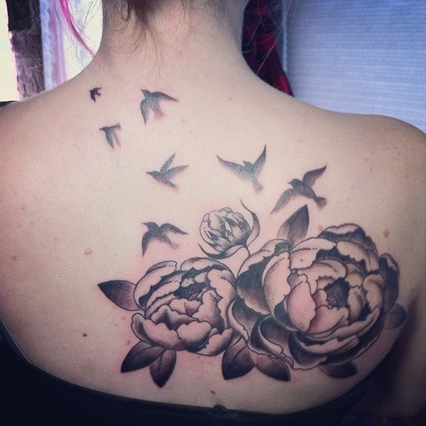 cool Peony tattoo on back With back ink For Man And Woman