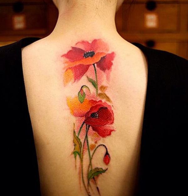 cool Watercolor Poppies Tattoo on Back With colourful ink For Man And Woman