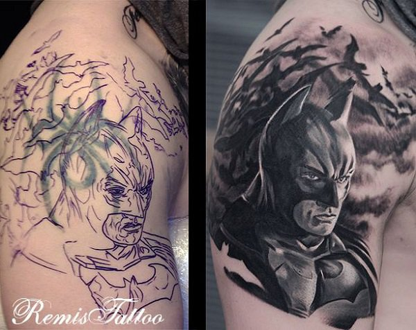 Cool Batman Tattoo Cover Up By Remis tattoo With Black Ink For Man And Woman Cover Up Tattoos Before And After
