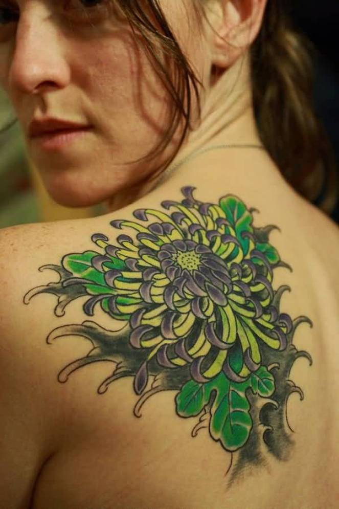 cool chrysanthemum tattoo on back with colourful ink for man & woman