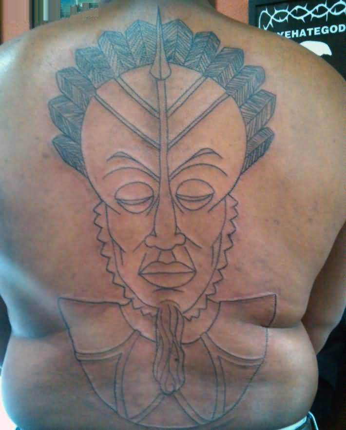 Cool Gray Color Ink Mask Tattoo Of King For Man