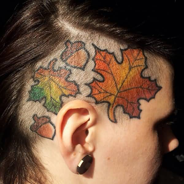 cool tattoo on the head With colourful ink For Man And Woman