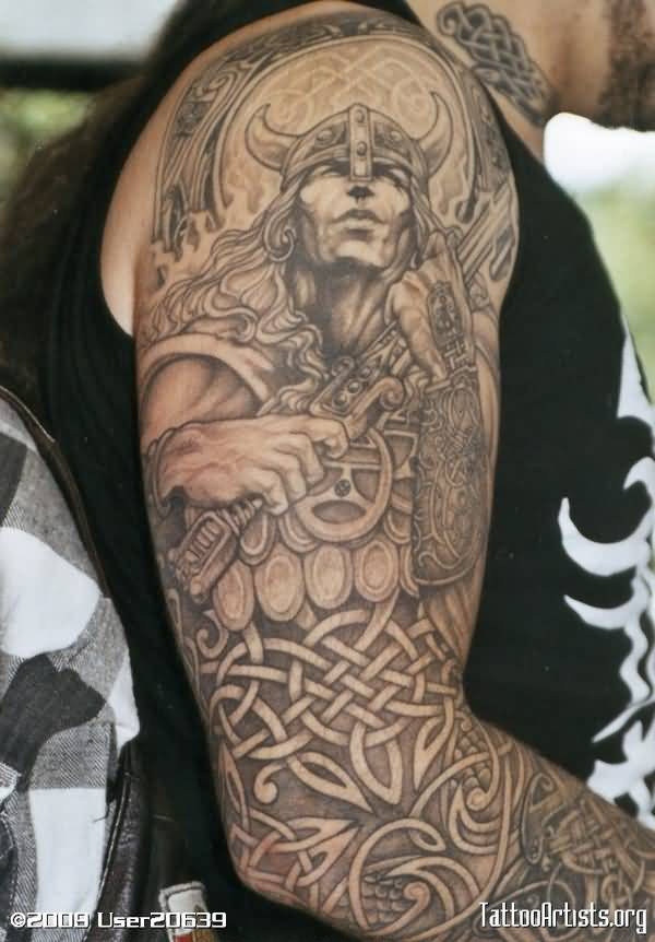 Cool Warrior Tattoo On Arm With Black Ink For Women And Man