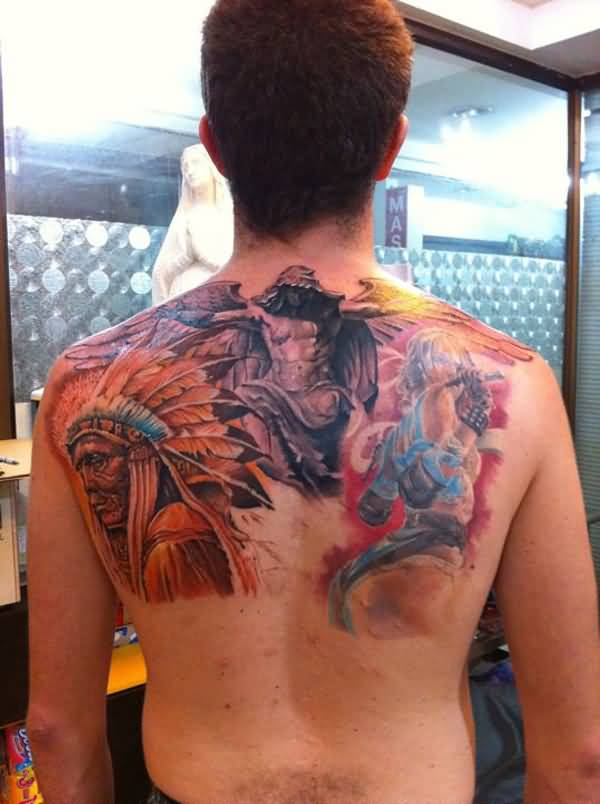 Coolest Native American Back Tattoo With Colourful Ink For Man & Woman