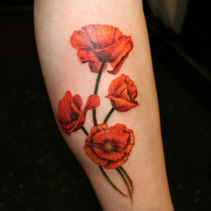 coolest Poppies tattoo on arm With colourful ink For Man And Woman