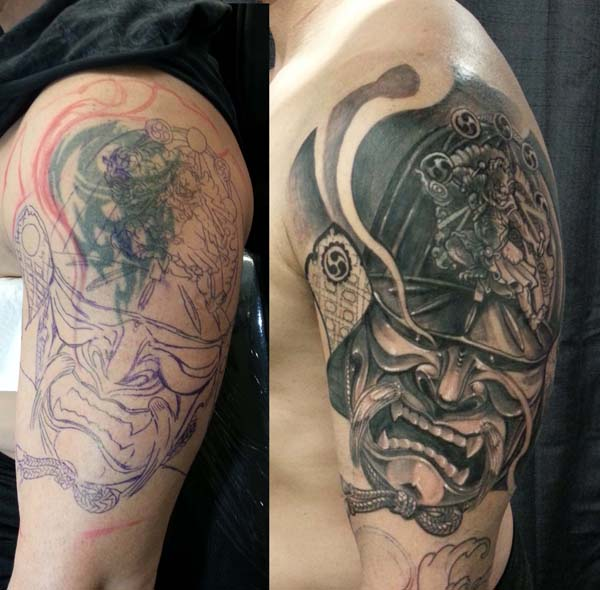 Coolest Black Sleeve Tattoo Cover Up On Shoulder With Black Ink For Man And Woman