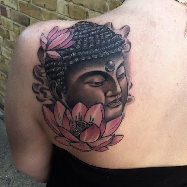 Coolest Buddha Back Tattoo On Soulder With Black Ink For Woman Man