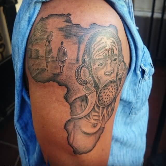 Coolest Gray Ink African Culture Tattoo On Boy Shoulder