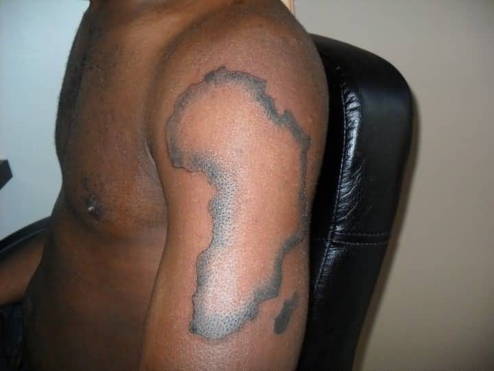 Crazy African Map Tattoo On Boy Dark Skin