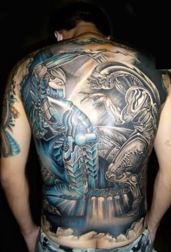 Crazy Blue And Gray Color Ink Alien Fighting Tattoo On Boy Full Back