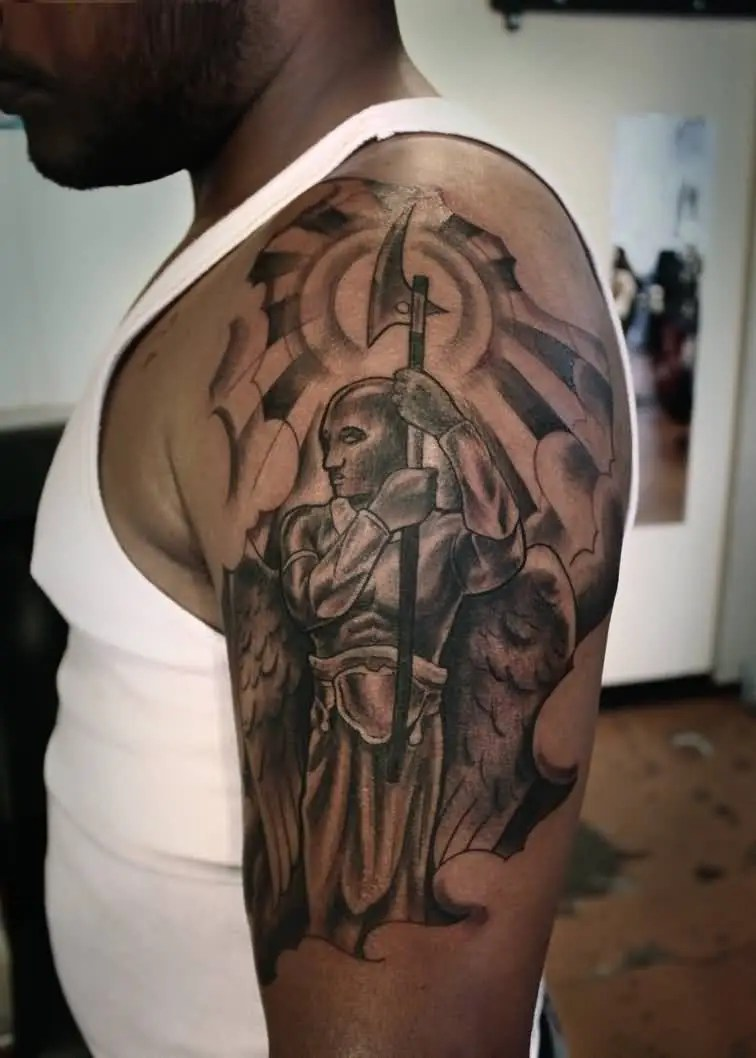 crazy gray color ink angel warrior tattoo on boy's full shoulder for boys only made by expert artist