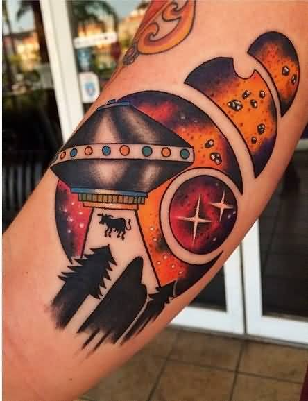 creative colorful Ufo Tattoo On Arm With Moon for boys