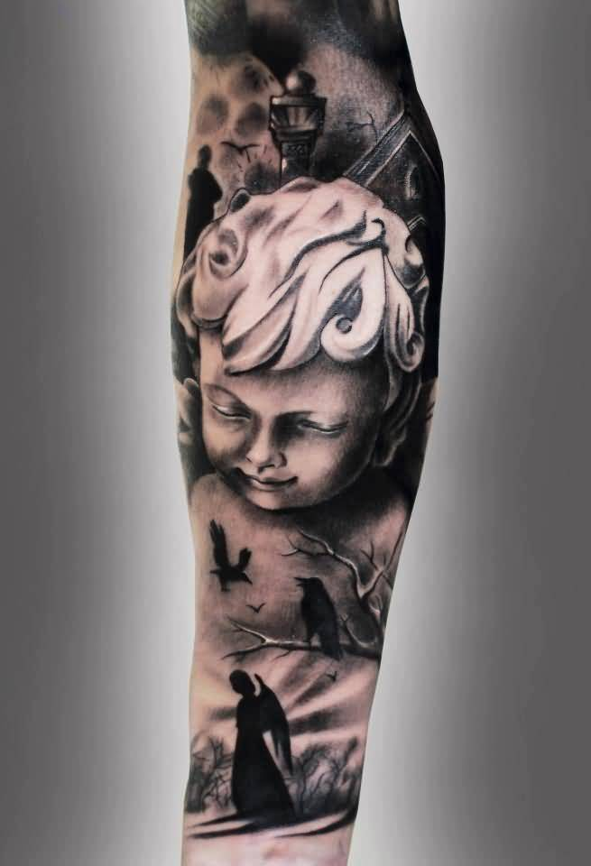 custom black and red light color ink baby angel tattoo on boy arm for boys made by expert
