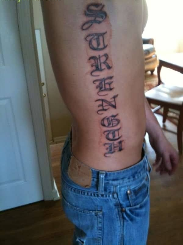 custom gray color ink tattoo of ambigram on side for boys only