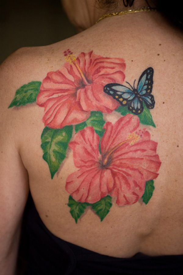 cute Hibiscus tattoo on back With colourful ink For Man And Woman