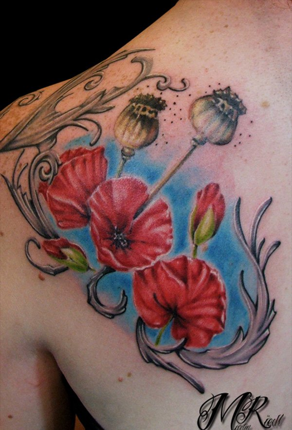 cute Poppies tattoo on back With colourful ink For Man And Woman (2)