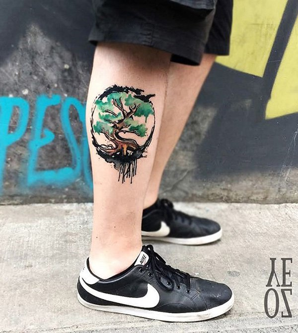 Cute Watercolor Tree Calf Tattoo With Colourful Ink For Man Woman