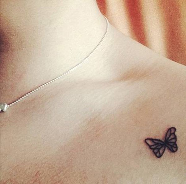 Cute Butterfly Tattoo On Clavicle With Blank Ink