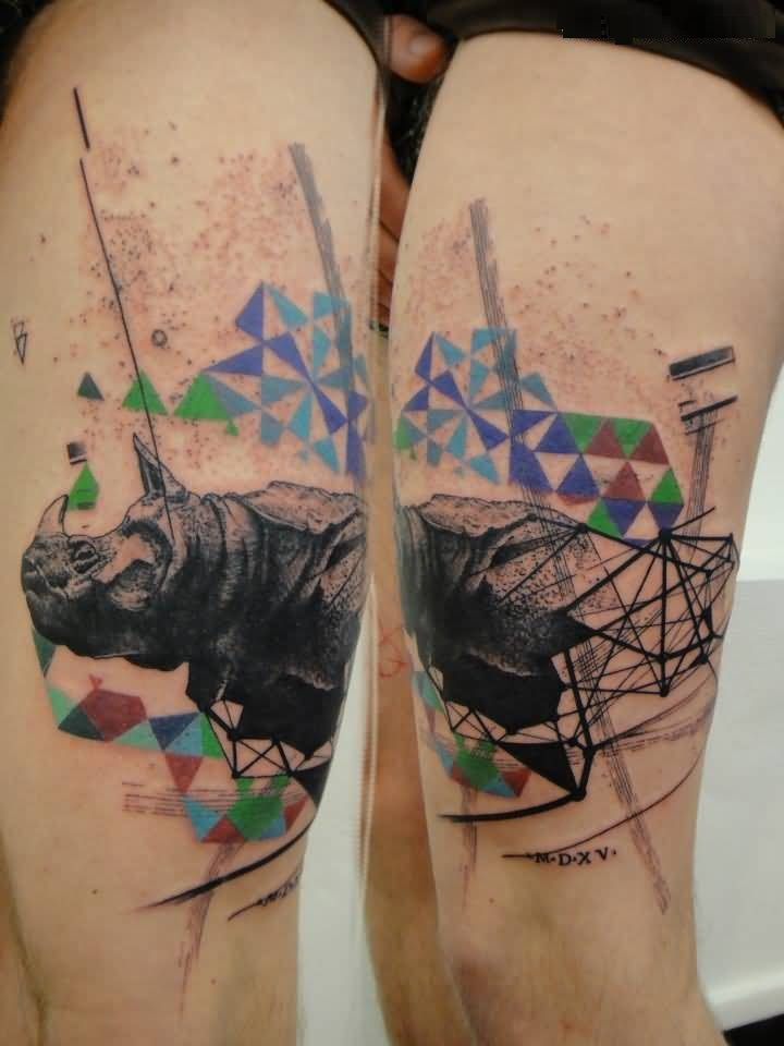 Cute Colorful Ink African Rhino Tattoo Photo