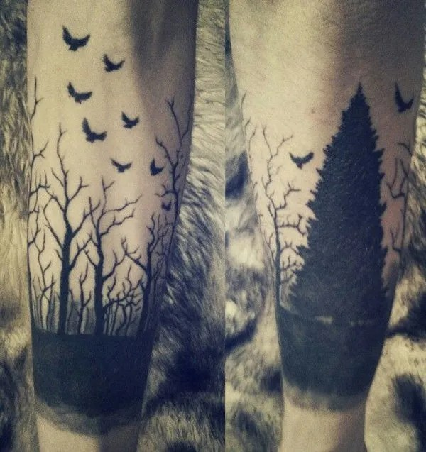 cute forest sleeve tattoo on wrist With Black ink For Man And Woman