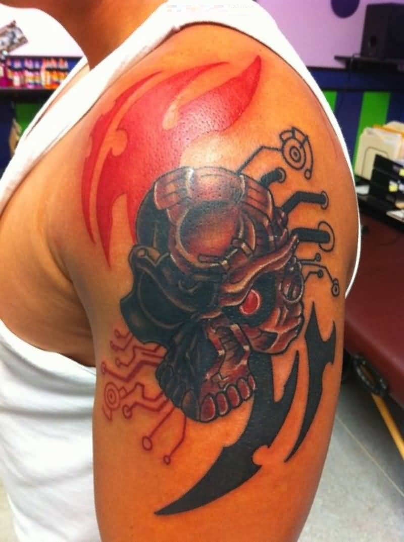 cute red and black color ink Predator Tattoo On Shoulder for boys