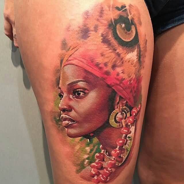 Cute Red And Yellow Color Ink African Female And Lion Eye Tattoo Photo