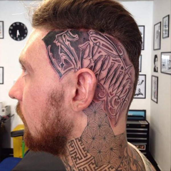 cute tattoo on the head With Black ink For Man And Woman