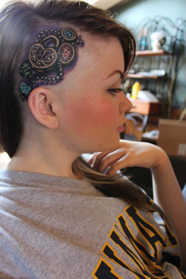 dangerous tattoo on the head With Black ink For Man And Woman Tattoo on Head