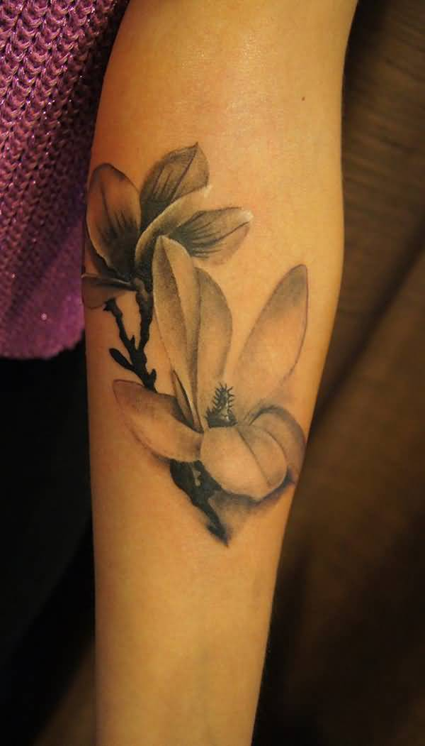 dashing Black and white magnolia flower sleeve tattoo on wrist With colourful ink For Man And Woman