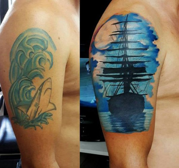 Dashing Boat Cover Up Tattoo On Shoulder With Colourful Ink For Man And Woman