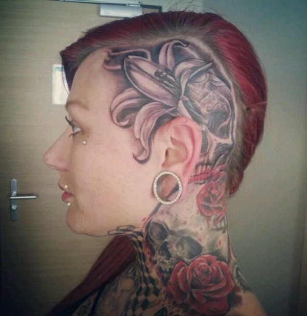 dashing Lily and skull tattoo on the head With Black ink For Man And Woman