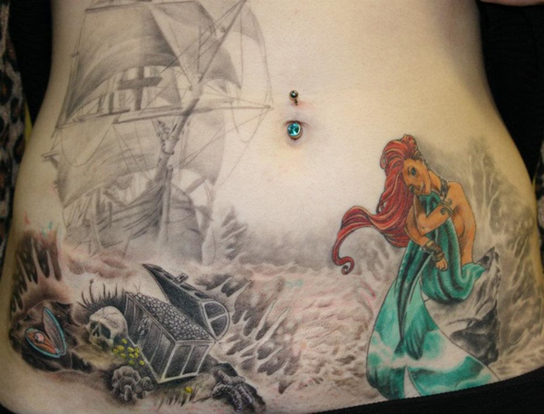 Different Mermaid With Skulls Tattoo On Stomach With Colorful Ink For Woman