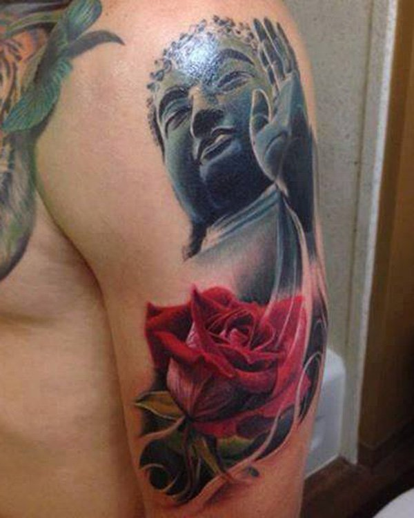 Divine Buddha And Rose Tattoo With Black Ink For Woman Man