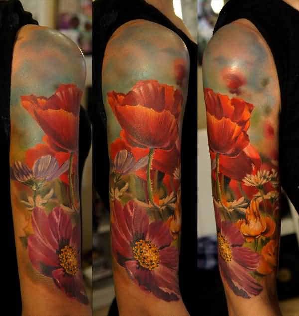 elegant 3D Poppies tattoo on arm With colourful ink For Man And Woman