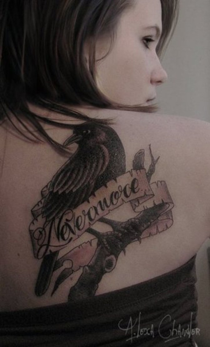 elegant Raven Tattoo on Back for girl on back with Black ink For Man And Woman