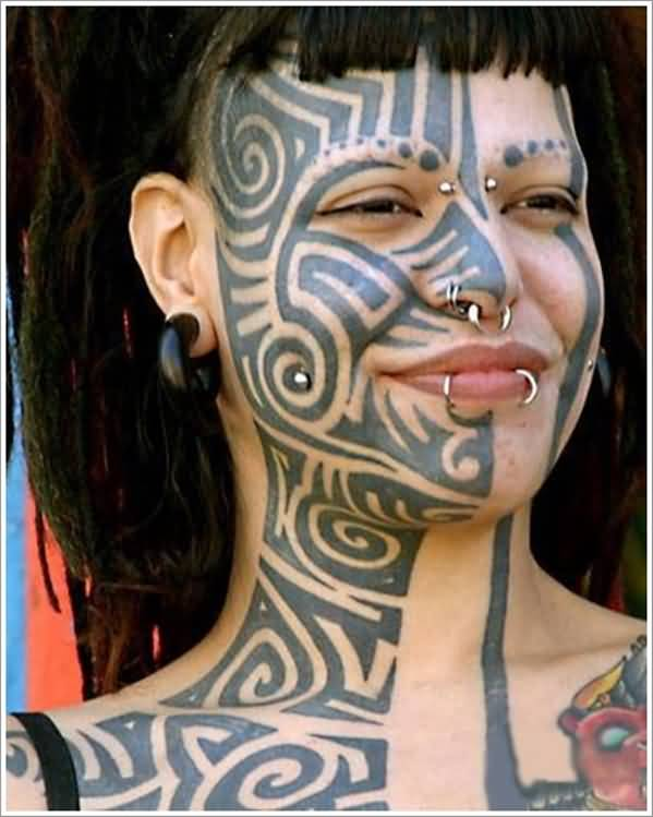 Elegant Gray Color Ink African Tattoo On Female Face