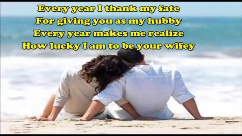 Every Year I Thank My Fate For Giving You As My Hubby Every Year Makes Me Realize How Lucky I Am To Be Your Wife