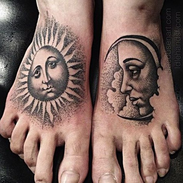 Eye Catching Moon And Sun Tattoo On Foot With Black Ink For Man Woman