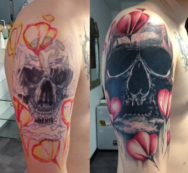 Eye Catching Skull Cover Up Tattoos On Shoulder With Colourful Ink For Man And Woman