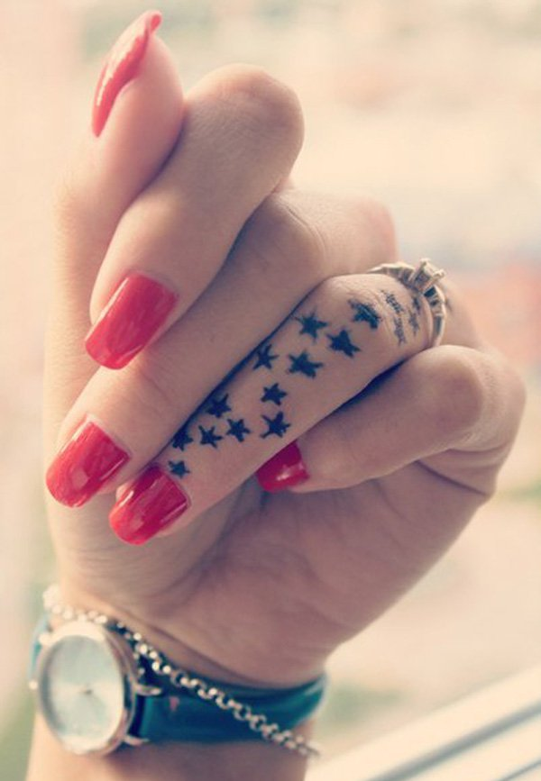 Eye Catching Star Finger Tattoo With Black Ink For Man And Woman